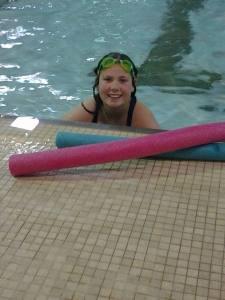 greta in the pool